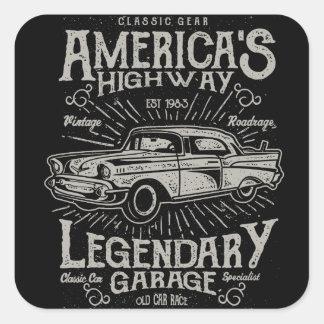 Adesivo Quadrado Estrada do carro | Hotrod americano clássico do
