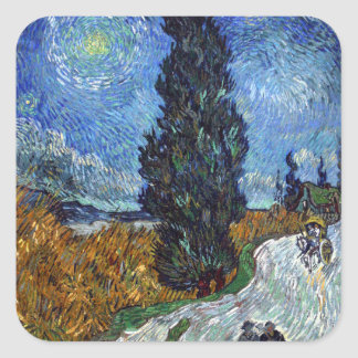 Adesivo Quadrado Estrada secundária de Vincent van Gogh em Provence