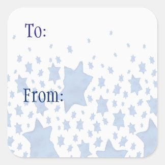 Adesivo Quadrado Estrela de David azul da aguarela