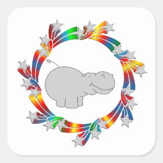 Adesivo Quadrado Estrelas do hipopótamo
