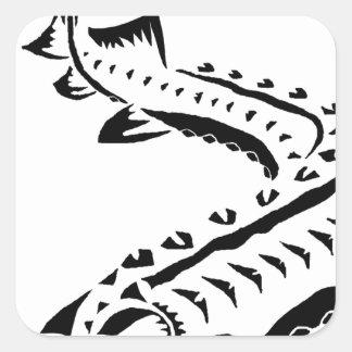 Adesivo Quadrado Esturjão tribal - beluga de Huso