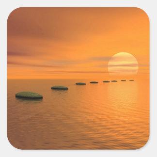 Adesivo Quadrado Etapas ao sol - 3D rendem