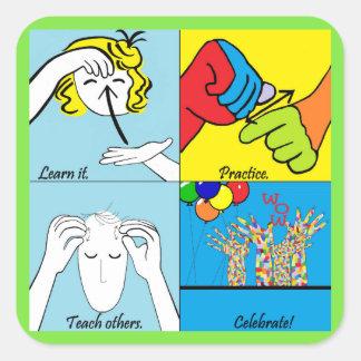 Adesivo Quadrado Etapas do ASL quatro ao sucesso