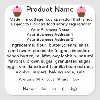 Adesivo Quadrado Etiqueta/etiqueta da lei de comida da casa de
