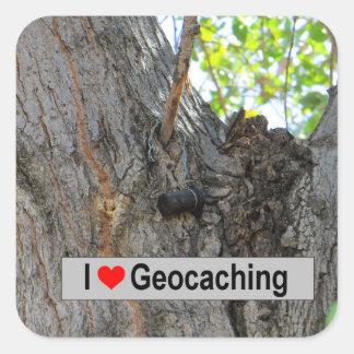 Adesivo Quadrado Eu amo geocaching: Gancho da árvore