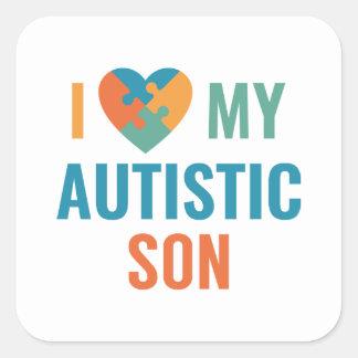 Adesivo Quadrado Eu amo meu filho autístico