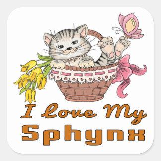 Adesivo Quadrado Eu amo meu Sphynx