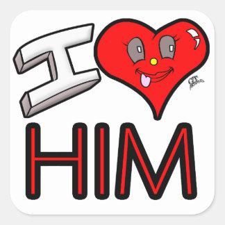 Adesivo Quadrado Eu amo-o com coração