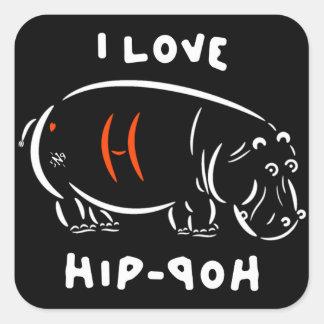 Adesivo Quadrado Eu amo o hip-hop (e os hipopótamos)!