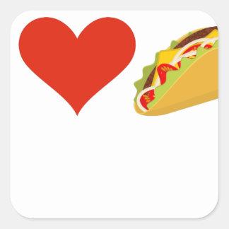 Adesivo Quadrado Eu amo o Tacos para amantes do Taco