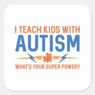 Adesivo Quadrado Eu ensino miúdos com autismo