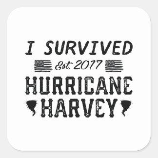 Adesivo Quadrado Eu sobrevivi ao furacão Harvey