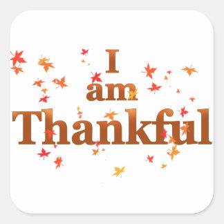 Adesivo Quadrado eu sou grato