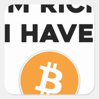 Adesivo Quadrado Eu sou rico - eu tenho Bitcoin