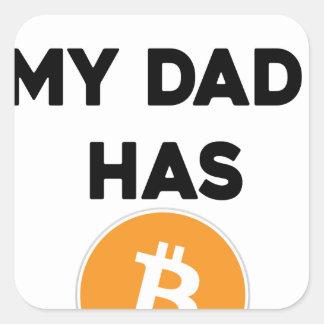 Adesivo Quadrado Eu sou rico - meu pai tem Bitcoin