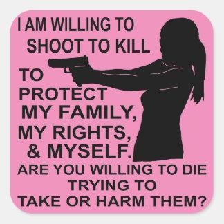 Adesivo Quadrado Eu sou tiro disposto para proteger minha família &