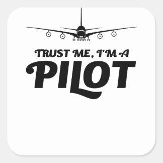Adesivo Quadrado Eu sou um piloto
