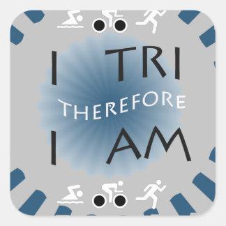 Adesivo Quadrado Eu tri conseqüentemente mim sou Triathlon