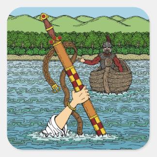 Adesivo Quadrado Excalibur e Arthur