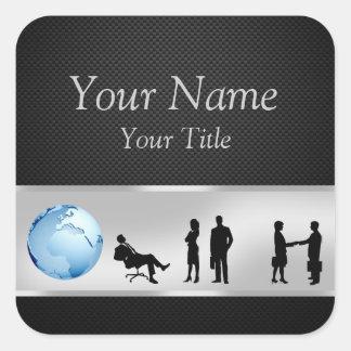 Adesivo Quadrado Executivos do globo do mundo do escritório -