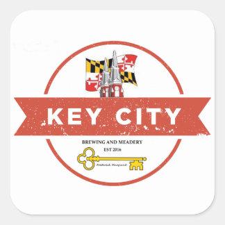 Adesivo Quadrado Fabricação de cerveja chave da cidade