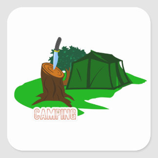Adesivo Quadrado Faca e barraca de acampamento