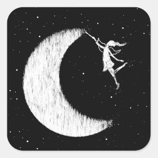 Adesivo Quadrado Fada da arte: Pinte a lua