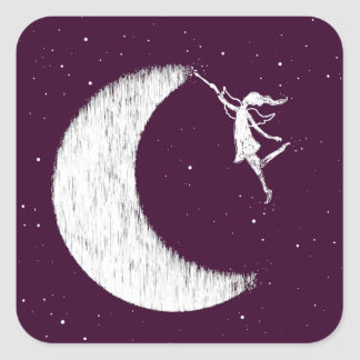 Adesivo Quadrado Fada da arte: Pinte a lua (roxa)