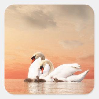 Adesivo Quadrado Família da cisne