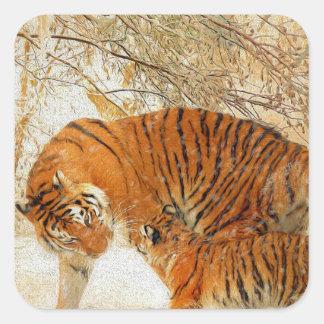Adesivo Quadrado Família em um blizzard - PaintingZ do tigre