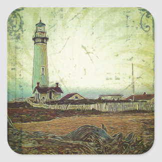 Adesivo Quadrado farol náutico da praia do litoral da pintura a