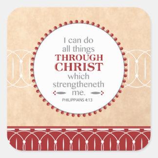 Adesivo Quadrado Fazendo todas as coisas com o cristo