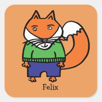 Adesivo Quadrado Felix personalizado o Fox