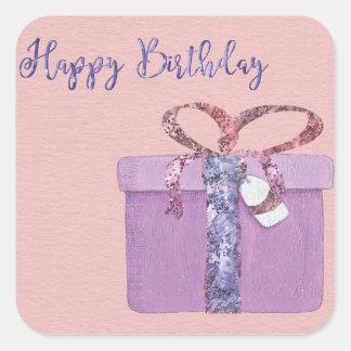 Adesivo Quadrado Feliz aniversario atual no rosa
