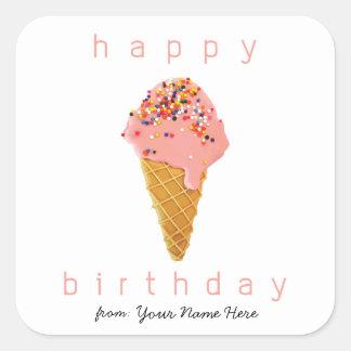 Adesivo Quadrado Feliz aniversario do cone feito sob encomenda do