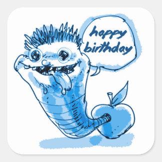 Adesivo Quadrado feliz aniversario dos desenhos animados do sem-fim