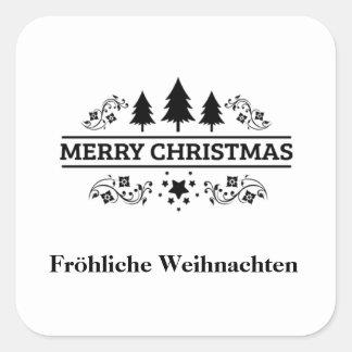 Adesivo Quadrado Feliz Natal branco preto Fröhliche Weihnachten