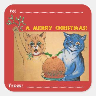 Adesivo Quadrado Feliz Natal do #holidayz dos gatos