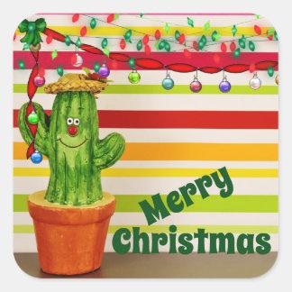 Adesivo Quadrado Feliz Natal do sudoeste do cacto bonito do feriado