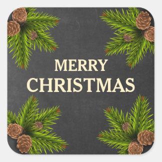 Adesivo Quadrado Feliz Natal dos cones do pinho do quadro