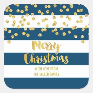 Adesivo Quadrado Feliz Natal dos confetes do ouro das listras azuis