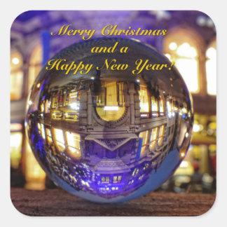 Adesivo Quadrado Feliz Natal e um feliz ano novo