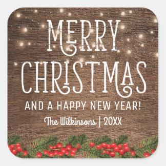 Adesivo Quadrado Feliz Natal rústico do país