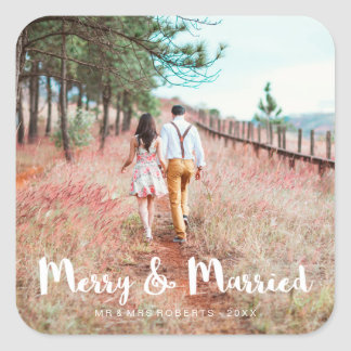 Adesivo Quadrado Feliz simples e lunática e foto casada