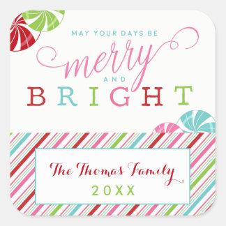 Adesivo Quadrado Feriado alegre e brilhante com doces e listras