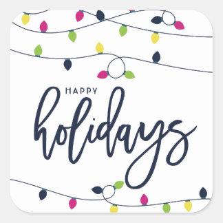 Adesivo Quadrado Feriado brilhante e colorido II das luzes de Natal