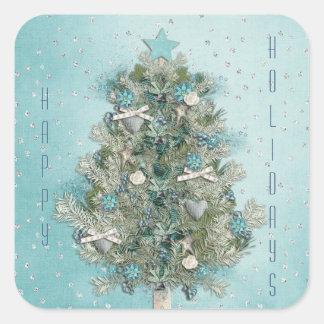 Adesivo Quadrado Feriado do Natal - árvore bonita do Xmas
