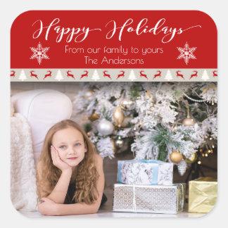 Adesivo Quadrado Feriado do Natal - boas festas veado vermelho da