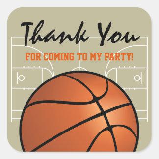Adesivo Quadrado Festa de aniversário do basquetebol dos miúdos