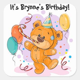 Adesivo Quadrado Festa de aniversário do urso de ursinho